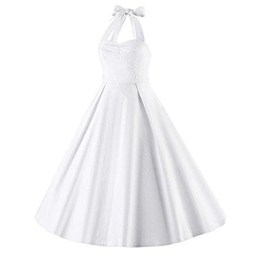 LUOUSE Damen 'Audrey Hepburn' Polka Dots Druck Holder Weinlese- Rockabilly Swing Abend Hochzeit Abschlussballkleid 2White