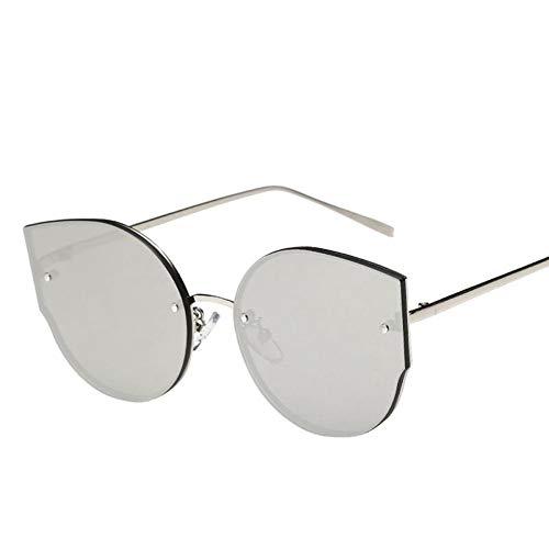 QDE Sonnenbrillen Frauen Sonnenbrillen Spiegel Flat Rose Gold Vintage Mode Sonnenbrillen Dame Eyewear, F