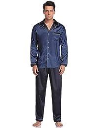 Pyjamas Pyjama Aibrou de Vêtement Homme en Hommes Satin Manche Nuit Soie Longue Pyjama Ensemble Pyjamas taqCwq