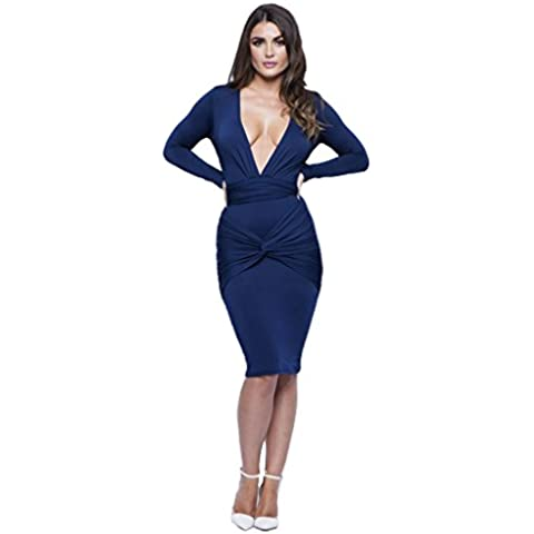 Longwu mujer de manga larga atractiva del V-cuello del estiramiento del vendaje del vestido de partido