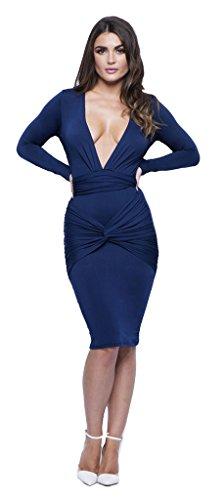Longwu Frauen reizvolle lange Hülse mit tiefem V-Ausschnitt Stretch-Verband-Partei-Kleid Blau-M Hellgrün Neckholder Cocktail Kleid