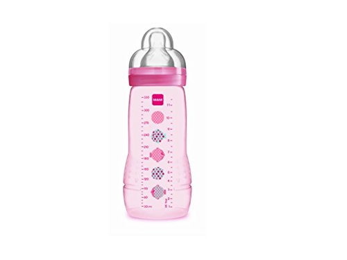Mam 2nd Age 330ml Bottle 6 Months and + - Colour : Transparent pink patterns