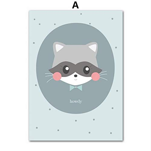 Djkaa Cartoon Poster Und Drucke Waschbär Katze Kaninchen Nordic Animal Prints Wandkunst Leinwand Malerei Kinderzimmer Dekoration Bild (Mit Rahmen)