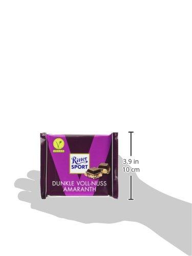 RITTER SPORT Dunkle Voll-Nuss Amaranth (10 x 100 g), Vegane Schokolade, mit ganzen Haselnüssen und Amaranth verfeinert, Halbbitterschokolade - 6
