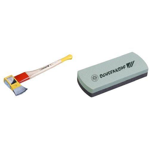 Ochsenkopf OX 648 H-2508 Spalt-Fix-Axt rotband-Plus mit 80 cm Hickorystiel, Ochsenkopf OX 33-0200 Schleif- und Abziehstein
