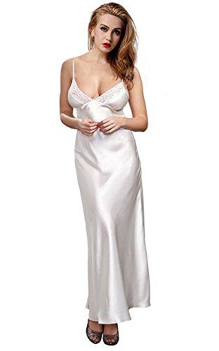ETONLINE Damen Länge Nachtwäsche aus Satin - Verstellbar Hosenträger Rock Luxus Nachthemd,weiß, 38/ M (Satin-nachthemd Damen)