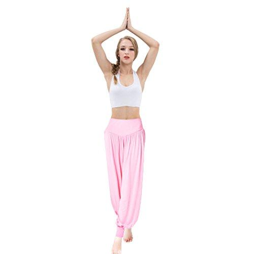 VENI MASEE® ON SALES Frauen weichen, elastischen Bund fitness yoga Herem Hosen, Farben Rosa