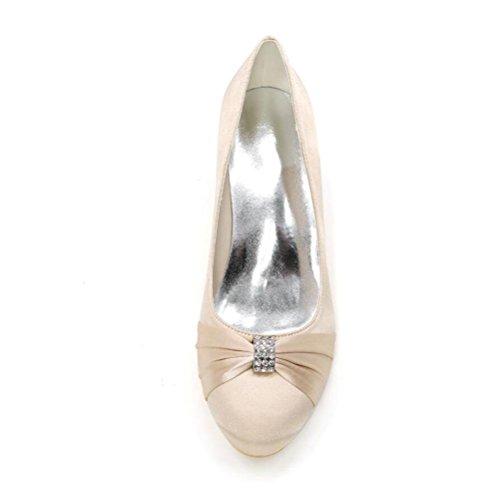 Ei&iLI Le donne di pompe raso scarpe da sposa scarpe chiuse Court Dress Toe Strass Tacchi partito EU35-EU42 Pink