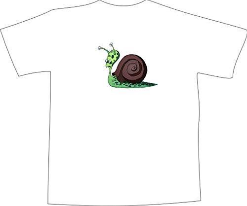T-Shirt E893 Schönes T-Shirt mit farbigem Brustaufdruck - Logo / Grafik - Comic Design - bunte alte Schnecke im Garten Schwarz