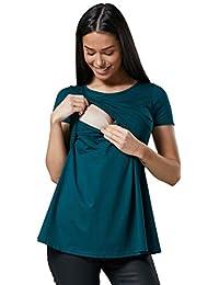 HAPPY MAMA. Para Mujer Camiseta Premamá y de Lactancia. Doble Capa. 099p