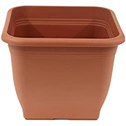 greemotion Pot de fleurs carré en plastique 40 x 40 cm, contenance 25L couleur terre cuite - Pot pour plantes extérieures et intérieures résistant au gel et UV