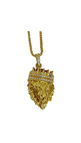 ELECTROPRIME Men's Fashion Gold Plated Crown Lion Head Pendant Necklace Luxury Collar Jewelry