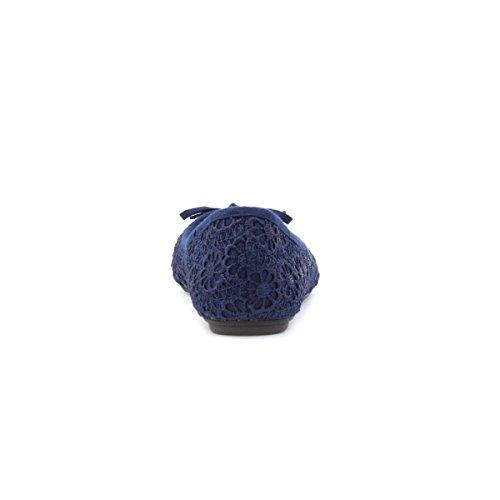 Lilley Woman - Bailarinas Azul Marino Con Estampado Floral De Crochet Azul