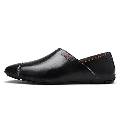FADACAI Chaussures en cuir pour homme Chaussures décontractées Chaussures de travail Chaussures habillées Chaussures dextérieur Grandes chaussures Black