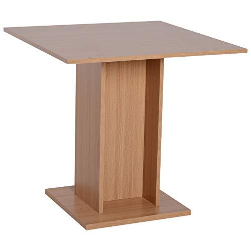 Table de cuisine bistrot carré design contemporain dim. 80L x 80l x 77H cm panneaux particules coloris bois hêtre