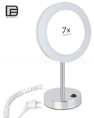 DEUSENFELD SP700 - Design Stand LED Kosmetikspiegel, 20cm, 7-Fach Vergrößerung einseitig, 230 Volt...