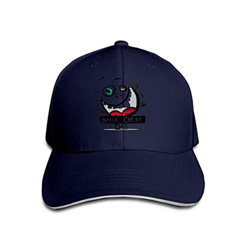 Unisex Flat Bill Hip Hop Cap Baseball Hat Head-Wear Cotton Trucker Hats Smile Every Day Slogan Funny Crazy face Teeth Big Muth Navy Crazy Fleece Hüte