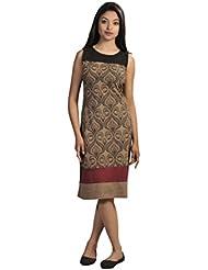Mesdames robe sans manches été avec motif imprimé damassé et Patch design