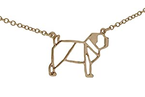 pretty_awesome Halskette Mops Pug Puglove Blogger Origami Geometrie Statementkette, Edelstahl Hochglanz (rotgold)