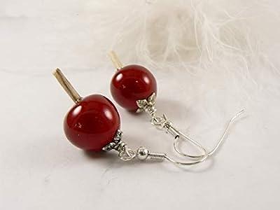 Boucles d'oreilles Pommes d'amour, bijou saint valentin