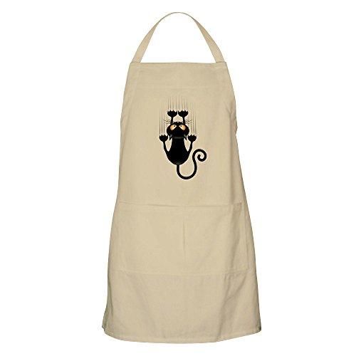 CafePress-Schwarz CAT Cartoon Kratzbaum Wand-Küche Schürze mit Taschen, Grillen Schürze, Backen Schürze khaki