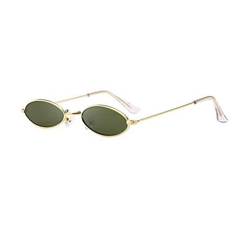 ZHAO YELONG Hip Hop Sonnenbrille Persönlichkeit Wassertropfen Form Oval Metallrahmen Sonnenbrille (Color : Green)
