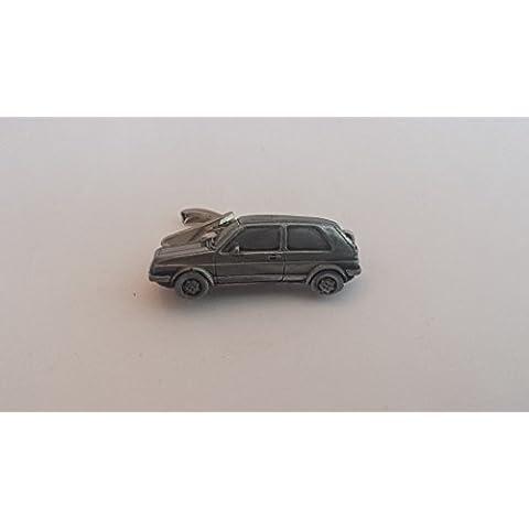VW Golf GTI Mk2ref300effetto peltro emblema auto su un fermacravatta 4cm a mano in Sheffield con prideindetails Confezione