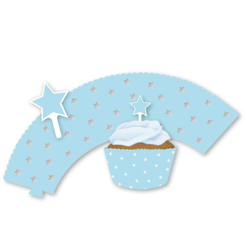 Pastel Blue Star Cupcake Wrappers & Plektrum – Pack - Pack Plektren
