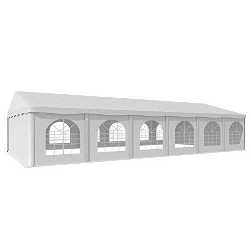 Blumfeldt Sommerfest • Pavillon • Gartenzelt • Partyzelt • Festzelt • 6 x 12 m • PVC-Plane • 500 g/m² • wasserdicht • schwer entflammbar • verschraubte Gerüstkonstruktion • Stahlrohr • vollverzinkt • alle Wände abnehmbar • gerundete Fenster • Erdnägel • weiß Kleine Plane