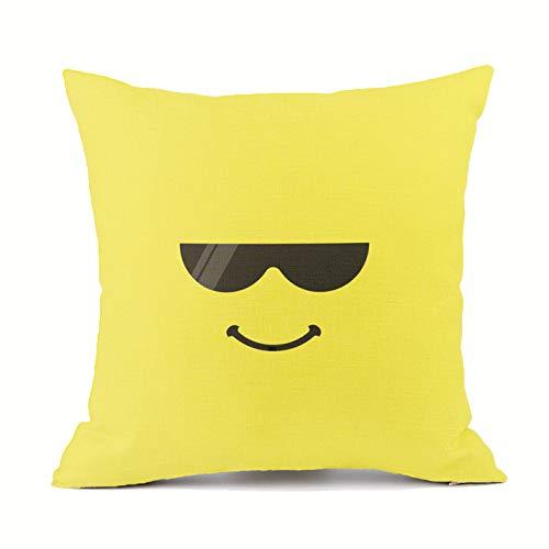 Vioaplem Cool Sonnenbrillen Ausdruck Kissenhüllen Baumwolle Leinen Wurf Kissenbezug zum Couch Sofa Schlafzimmer Zuhause 45x45 cm