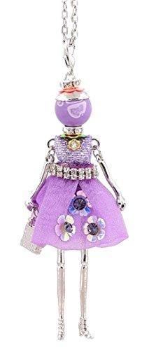 Halskette Anhänger elegante Puppe Kleid Violett Lila Strass Weiß.