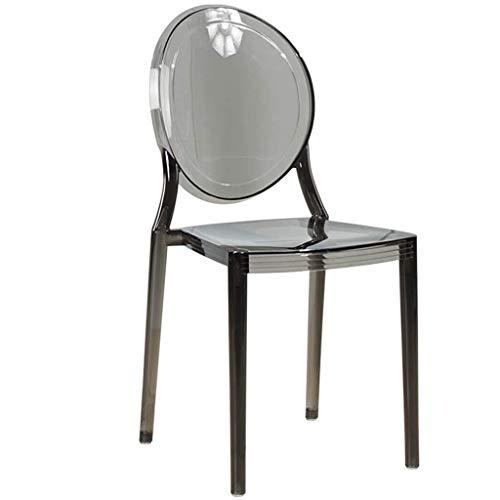 ALXLX Europäische Transparente Bar Stuhl Esszimmerstuhl, Moderne Designer-Sessel, Lässig PVC Stuhl L Frühstück Restaurant Hocker Kücheninsel Theke Barhocker (Color : Gray)
