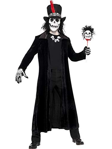 erdbeerclown - Herren Männer Kostüm Voodoo Hexen Doktor mit Hut Mantel Stock Maske und Kette, Voodoo Witch Doctor, perfekt für Halloween Karneval und Fasching, M, Schwarz