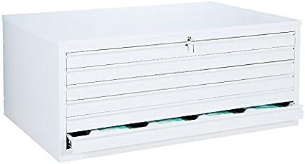 Weißer Zeichnungsschrank DIN A1 Flachablageschrank Grafikschrank Planschrank Architektenschrank 6 Schubladen Stahl 565117 Signalweiß 9003