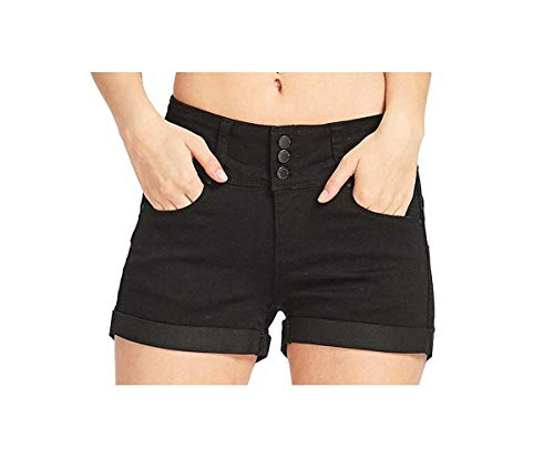 5 Color High-Waist Jean Zipper Botton Women's Denim Shorts Fashion Pocket Modis Shorts Femme Short Mujer Pantalones Cortos Mujer Black S - Button Fly Denim Bib