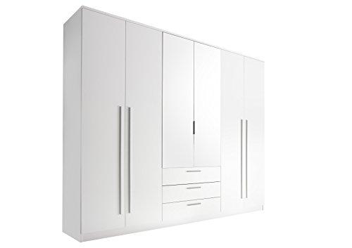 Stella Trading Neptun 6-türiger Kleiderschrank, Holz, weiß, 59 x 270 x 225 cm