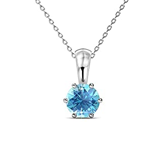 Private Twinkle 18ct White Gold Plated Necklace with Birthstone Pendant made with crystal from SWAROVSKI for Women (6mm) (03.Aquamarine)