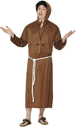 Mens Classic Brown Medieval Monk Friar Tuck Religious Church Bible Festival Carnival Fancy Dress Costume Outfit ()