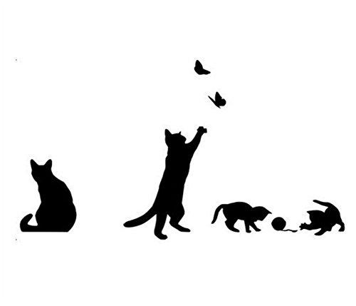 Cdet Aufkleber Schwarze Katze Wandaufkleber Selbstklebender Kleber Dekoratives Klebeband Notizbuch/Mauer/Keramikfliese/Glas/Küche/Geschenk/Auto/Galerie DIY Fensterbilder Fensterfolien