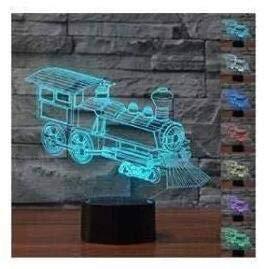 3D Zug Optische Illusions-Lampen Tolle 7 Farbwechsel Acryl berühren Tabelle Schreibtisch-Nachtlicht mit USB-Kabel für Kinder Schlafzimmer Geburtstagsgeschenke Geschenk