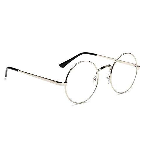 HENGSONG Retro Runde Brille mit Fensterglas Damen Herren Brillenfassung (Silber)