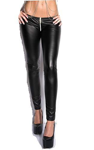 Koucla Damen Wetlook Leggings mit 2 Way Zip (Shwarz, S/M)