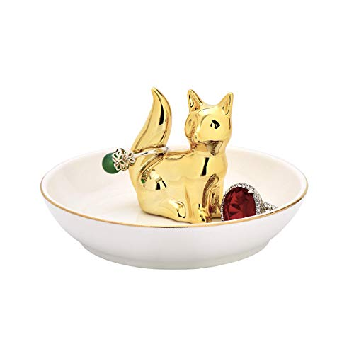 ROSA&ROSE Ring Holder Ceramic Ring Dish for Jewelry and Trinket Dish Jewelry Holder Plate Stand