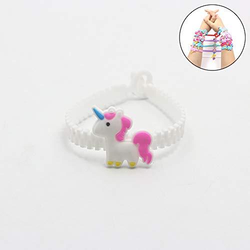 (Jushi Einhorn-Silikon-Armband Einhorn Geburtstagsfeierbevorzugungen Armbänder für Kinder Regenbogen-Armbänder Verschiedene Kit Preis Supplies (weiß))