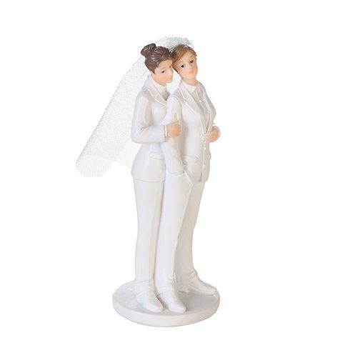 Kuchen-Aufsatz / Torten-Aufsatz Mrs & Mrs / Cake Topper / Torten-Figur Frauen-Hochzeit / Lesbisches Paar aus Polyresin - Höhe 13 cm - Hochzeit - Hochzeits-Deko - Hochzeits-Torte