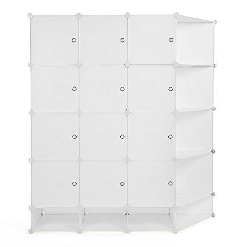 Songmics 5 Ebenen Regalsystem Aufbewahrung Schrank Kleiderschrank Haushaltsschrank Kunststoffschrank 20 Fächer mit Türen und Aufkleber mit Gummihammer 145,5 x 163 x 46 cm milchig weiß LPC54M