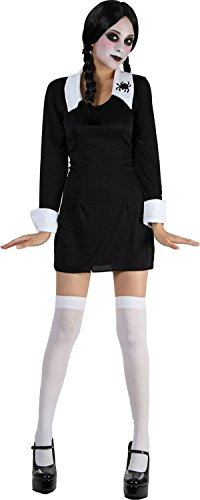Kid Halloween Woche Tag Fancy Club Party Girl Creepy Schulmädchen Kostüm schwarz UK Gr. L, schwarz