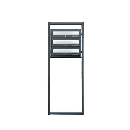 BITUXX® Design Stand-Briefkastenanlage Postkasten Letterbox Mailbox Edelstahl Briefklappe mit 3 Fächer Dunkelgrau - 3