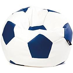 MiPuf - Puff Futbol Original - 90cm diámetro - Tejido Polipiel Alta Resistencia - Doble Cremallera - Relleno Incluido - Azul Marino y Blanco - 4 años de Garantía