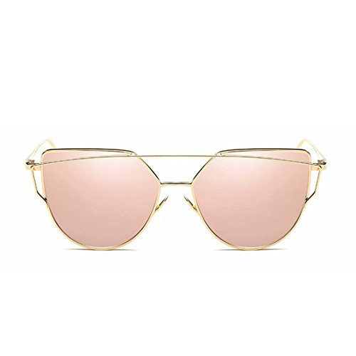Honneury Katzen-Augen-Mode-Metallrahmen der Frauen gespiegelte Flache Linsen-Sonnenbrille (Farbe : Goldrahmen/Rose Gold Linse)
